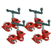 """Set of 4 3/4"""" Wood Gluing Pipe Clamps Heavy Duty Woodworking Cast Iron CT5412"""