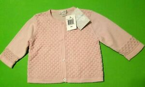 Nwts Kissy Kissy Infant Girl Size 3-6 Mths Pink Cotton Knit Cardigan Sweater