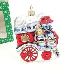 Vintage Steam Train Christmas Glass Ornament Hand Painted Made in Poland in Box