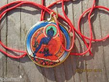TIBETAN BUDDHIST HEALING MEDICINE BUDDHA KALACHAKRA AMULET NECKLACE RED CORD NEW