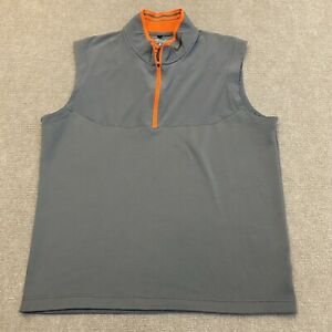 Nike Golf Tour Performance 1/4 Zip Vest Dri Fit Size Large Gray and Orange