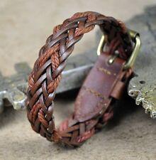S325 COOL Braided Hemp Leather Wristband Bracelet Men's Cuff Vintage LIGHT BROWN