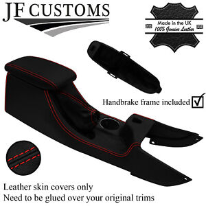 RED STITCH LEATHER HANDBRAKE + FRAME + CONSOLE COVERS FOR JAGUAR X-TYPE 01-09
