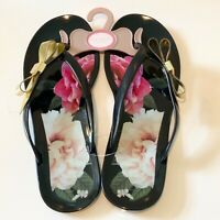 Ted Baker Sandals UK Size 5 6 Black Floral Jelly Flip Flops Gold Bow