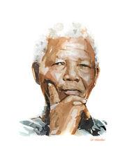Nelson Mandela Print Watercolour.Nelson Mandela art,Nelson Mandela print