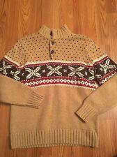 NWT Gap Pullover Sweater Size XL (12) XXL 16 Wool Blend Ski Nordic 1/2 Button