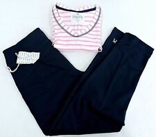 NWT Karen Nueberger Inspire Active Yoga to Lounge Navy Pants, Pink Striped Top M