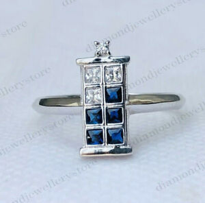 Blue & White Princess Diamond Dr Who Tardis Inspired Engagement Ring 925 Silver
