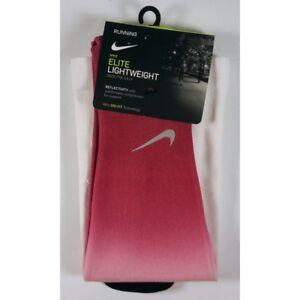 Nike Elite Lightweight Running Socks, White w/ Reflectivity, Size 12 - 13.5 NEW