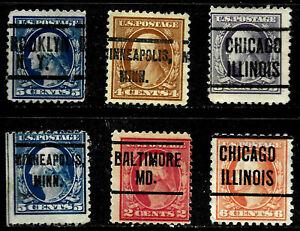 """MD MINN NY Illinois"" Washington Franklin Precancel Collection 2-6 Cent US 94"