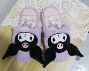 kuromi black fuzzy plush warm indoor slipper shoes shoe slippers model