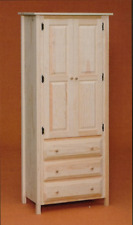 NEW AMISH - Custom Made - Solid Pine UNFINISHED Linen Cabinet with Drawers