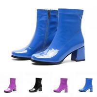 Damen Elegant Lackleder Mittel Blockabsatz Stiefeletten Party Eckig Ankle Boot L