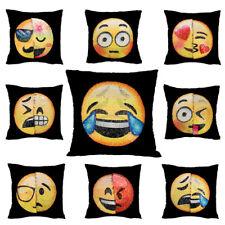 "16"" Emoji Mermaid Pillow Case Reversible Sequin Glitter Sofa Cushion Cover YG UK"