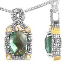 Philip Andre 18K Gold & Sterling Silver Diamond & Green Quartz Necklace