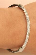 """18k White Gold Finish Diamond Bangle Bracelet 5ct Wedding Gift 7.25"""""""
