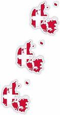 Dänemark LandKarte Flagge 3x Aufkleber 3cm Silhouette Motorrad Helm Laptop