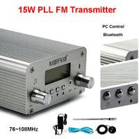 15W PLL FM Transmitter Wireless USB Station Radio Broadcast Antenna FM 87~108 DD