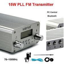 15W PLL FM Transmitter Wireless USB Station Radio Broadcast Antenna FM 87~108 mi