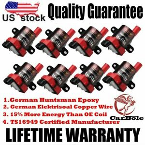 Set of 8 D585 Ignition Coils Round Type For GMC Chevy Silverado 5.3L 6.0L 4.8L