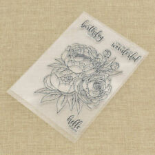Flower Happy Birthday Transparent Clear Stamp for DIY Scrapbooking Card Sheet