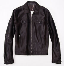 NWT $7600 BRIONI Sheared Leather 'Ponyhair' Bomber Jacket 50/40 (M) Dark Brown