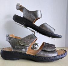 JOSEF SEIBEL Debra Pewter Leather Ankle Strap Sandals Womens Sz 41 EU 10 10.5 US