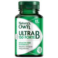 NATURE'S OWN ULTRA B 150 FORTE 60 TABLETS VITAMIN B12 ENERGY PRODUCTION NATURES