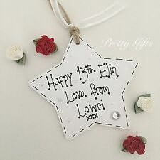Small Personalised Gift Tag Birthday Star 13th 16th 18th 21st 30th 40th 50th