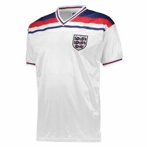 Score Draw Mens England 82 Home Jersey Shirt Top V-Neck Football Retro T-Shirts