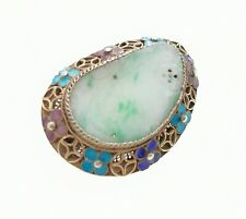More details for antique or vintage chinese jade and enamel silver gilt brooch