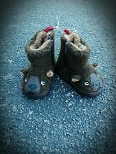 BABY GAP BEAR FACE TODDLER FUZZY BEAR SLIPPER BOOTS FAUX SHERPA BROWN SZ 5