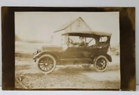 RPPC Woman in Old Car on Farm Elkhart, Indiana Estate Real Photo Postcard A14