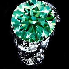 26.66 ct vs1/GREEN MOISSANITE & WHITE NAUTRAL DIAMOND WORLD CUP SILVER RING