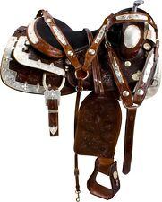 "16"" WESTERN SHOW SILVER LEATHER SADDLE PARADE PLEASURE TRAIL HORSE SADDLE TACK"