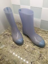 """CHANEL SIZE 37 US 7 SNOW RAIN BOOTS RAINBOOTS  LIGHT BLUE 9"""" tall MADE IN ITALY"""