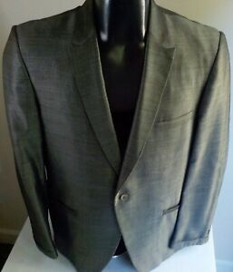 VTG 50's  ARNOLD'S Men's Shop 1 Button Sharkskin Blazer Black/Silver SIZE 38R