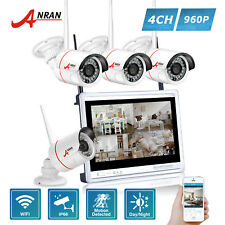 4CH 960P Wireless Security System 12 Inches Monitor WIFI CCTV Camera NVR Outdoor