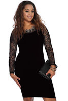 Lace Dress Plus Mini 1X-4X Bodycon Size Cocktail Party New Sexy Womens 3 Color