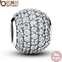 New Solid S925 Sterling Silver Crystal Round Charm Beads Fit European Bracelets