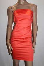 ASOS Designer Orange Ruched Strapless Cocktail Dress Size 6 BNWT #TD68