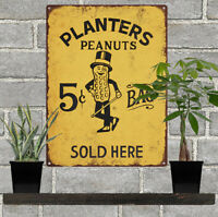Planters Peanuts Candy 5 cent Vintage Look Advertising Metal Sign 9 x 12 60056