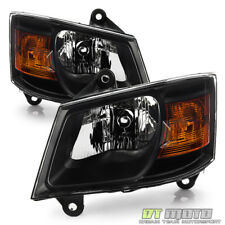 Blk 2008 2009 2010 Dodge Grand Caravan Headlights Headlamps Left+Right 08 09 10