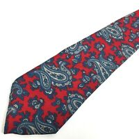 Christian Dior All Silk Neck Tie Red Blue Paisley