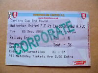 Ticket- ROTHERHAM UNITED v LEEDS UNITED, 2005 Carling Cup 2nd RD, 20 September