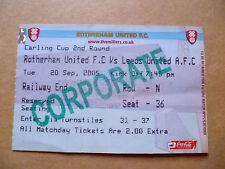 Ticket- ROTHERHAM UNITED v LEEDS UNITED, 2005 Carling Cup 2nd RD, 20 September