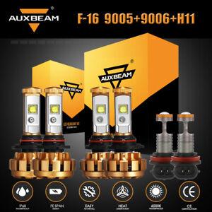AUXBEAM F-16 9005+9006+H11 LED Combo Headlight High+Low Beam+Fog Light Bulb 6PCS