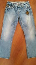 GUESS Falcon Slim Boot Jeans size 28 x 28 Studded Snap Pockets Light Wash