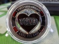 LOVE THE GAME silver color Poker Card Guard Protector W/case FREE POSTAGE USA