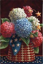 Country Folk Patriotic Blooms Stars Basket  Hydrangea Red White Blue Sm Flag